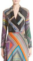 Etro Women's Patchwork Print Silk Faux Wrap Blouse