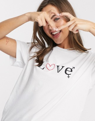 Asos DESIGN t-shirt with sketchy love print