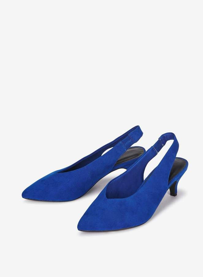 f3359392e4f EXTRA WIDE FIT Blue Slingback Kitten Heel Court Shoes