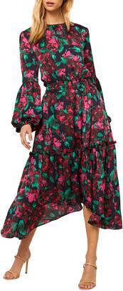 MISA Simone Satin Floral Midi Dress