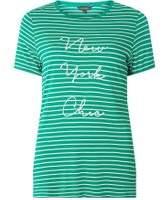 Dorothy Perkins Womens Green Striped Motif T-Shirt