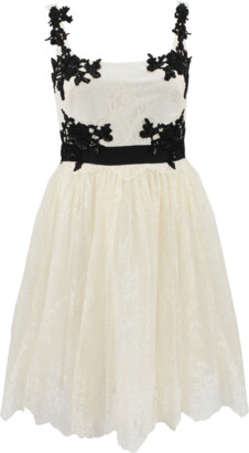 Marchesa Notte Lace Cocktail Dress With Tulle Skirt