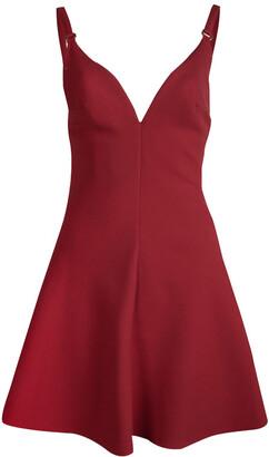 Miu Miu Red Wool Fit And Flare Dress S