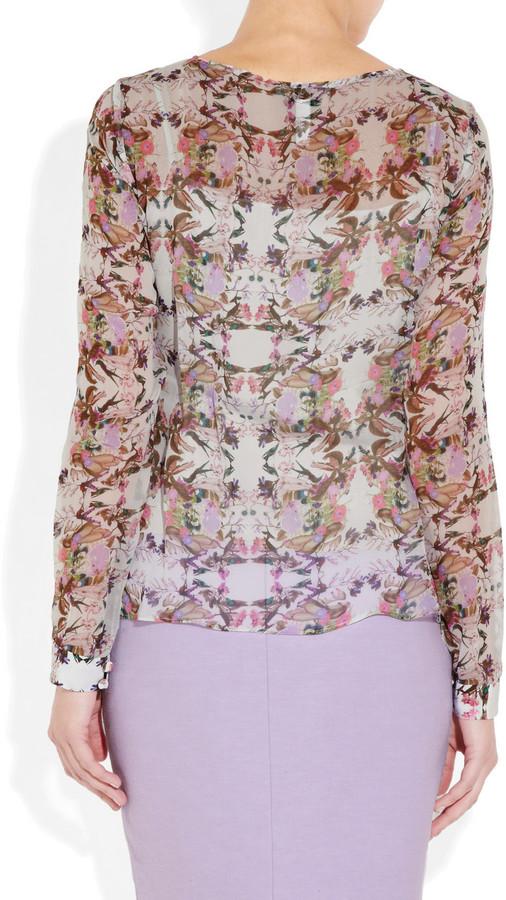 Erdem Antonia printed silk-voile blouse