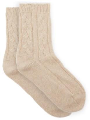 Johnstons of Elgin Cable-knit Cashmere Bed Socks - Beige