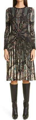 Etro Paisley Print Rib Long Sleeve Sweater Dress