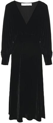 IRO Cover Gathered Velvet Midi Dress