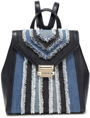 MICHAEL Michael Kors Whitney Leather And Frayed Denim Backpack