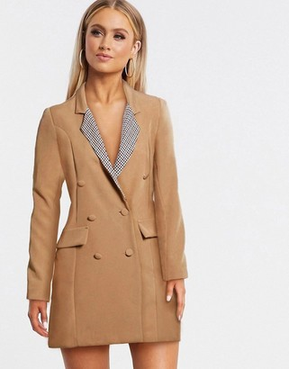 I SAW IT FIRST contrast blazer dress in camel