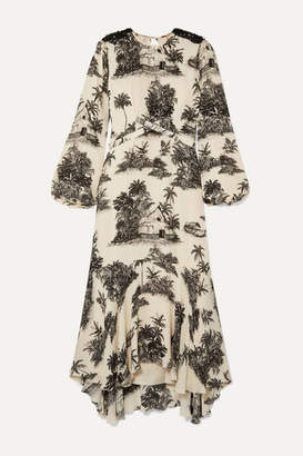 Johanna Ortiz Notalgia Del Pasado Asymmetric Printed Silk Crepe De Chine Midi Dress - Cream
