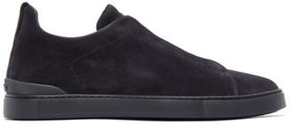Ermenegildo Zegna Navy Suede Triple Stitch Sneakers
