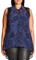 City Chic Des Fleurs Lace Inset Shirt (Plus Size)