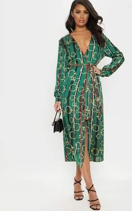 PrettyLittleThing Green Satin Chain Print Belted Midi Dress