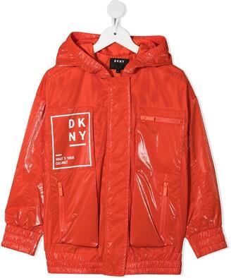 DKNY Logo Print Mesh Zipped Jacket