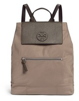 Tory Burch 'Ella' packable saffiano leather flap nylon backpack