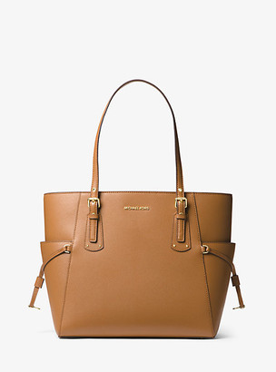 MICHAEL Michael Kors MK Voyager Small Crossgrain Leather Tote Bag - Acorn - Michael Kors