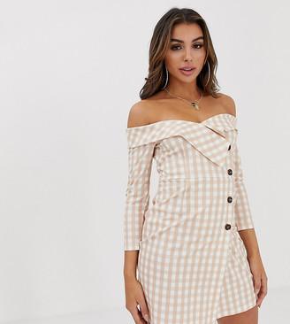 UNIQUE21 bardot blazer dress in gingham