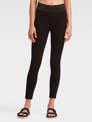 DKNY Women's Ponte Legging With Wide Waistband - Black - Size L