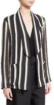 Brunello Cucinelli Monili Striped Shawl-Collar Jacket, Multi