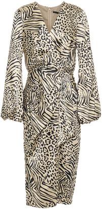 Jay Godfrey Wrap-effect Pleated Printed Stretch-satin Dress