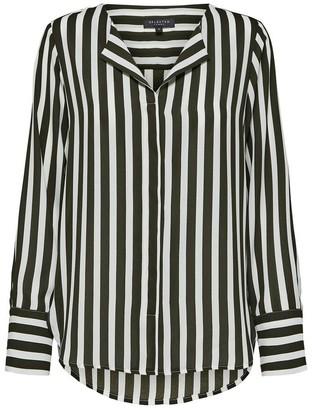 Selected Green and White Long Sleeved Stripe Shirt - 34 (8) - Black/White