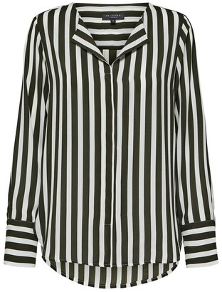 Selected Green and White Long Sleeved Stripe Shirt - 36 (10) - Black/White