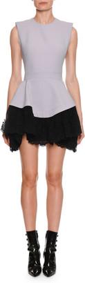 Alexander McQueen Sleeveless Drop-Waist Contrast Lace Mini Dress