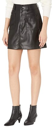 Madewell Vegan Leather A-Line Mini Skirt (True Black) Women's Skirt