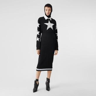 Burberry Long-sleeve Star Motif Cotton Pique Polo Shirt Dress