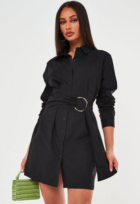 Missguided Black Poplin Belted Shirt Dress