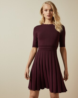 Ted Baker DORLEAN Scallop knitted sleeve skater dress