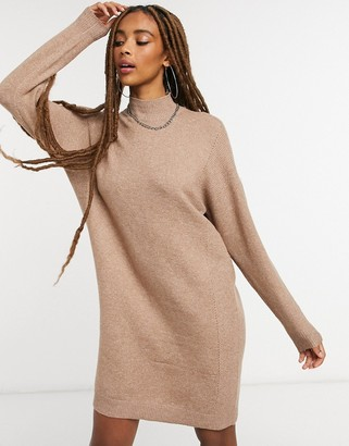 Only high neck jumper dress in brown