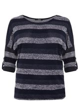 Quiz Curve Navy And Cream Light Knit Top
