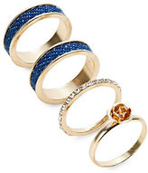 Expression Four-Piece Denim and Flower Ring Set