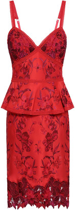 Marchesa Embroidered Ponte Peplum Dress