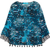 Matthew Williamson Pompom-embellished Printed Silk Crepe De Chine Top - Petrol