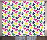 Modern Decor Curtains by Ambesonne, Rainbow Colorful Butterfly Romantic for Kid Nursery Art, Living Room Bedroom Window Drapes 2 Panel Set, 108 W X 63 L Inches, Dark Blue Green Yellow Pink White