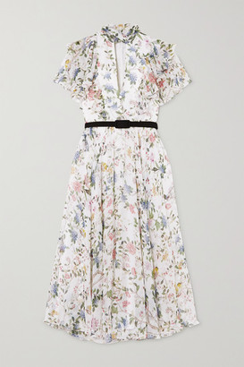 Erdem Giudita Tie-neck Belted Floral-print Silk-voile Dress - White