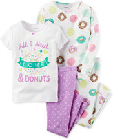 Carter's Girls' or Little Girls' 4-Pc. Love & Donuts Pajama Set