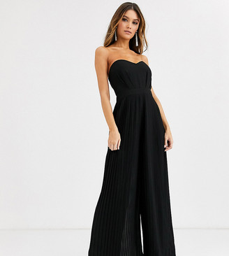 TFNC bandeau pleated wide leg jumpsuit in black