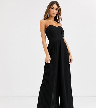 TFNC bandeau pleated wide leg jumpsuit in black