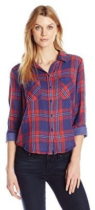 Seven7 Women's Roll-Sleeve Plaid Button Up Shirt