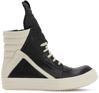 Rick Owens Geobasket Leather High Top Sneakers