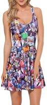 Bramble Women's Crew Neck Sleeve Printed Fashion Mini Dress Zombie (Purple)