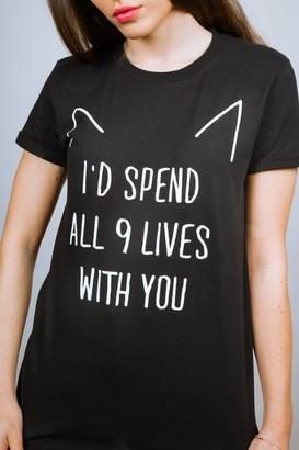 Adolescent Clothing ALL 9 LIVES BLACK SLOGAN TEE