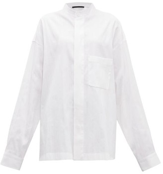 Haider Ackermann Oversized Striped Cotton-blend Shirt - Womens - White