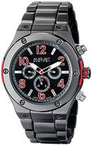 August Steiner Men's AS8126RD Black Multifunction Swiss Quartz Watch with Red Accented Black Dial and Gray Bracelet