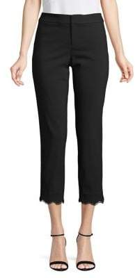 Lord & Taylor Kelly Lace Trim Slim Pants