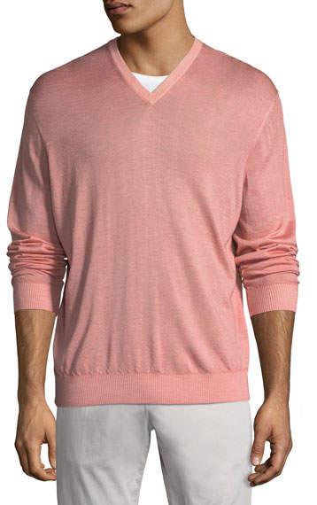 Kiton Washed Cashmere-Silk V-Neck Sweater, Pink