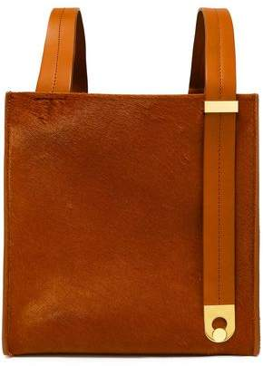 Sophie Hulme Exchange Cube Leather-trimmed Calf Hair Tote